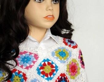 SALE Baby girl crochet poncho Toddler girl poncho crochet cape White poncho Crochet capelet Granny square poncho Baby shower gift girls ponc