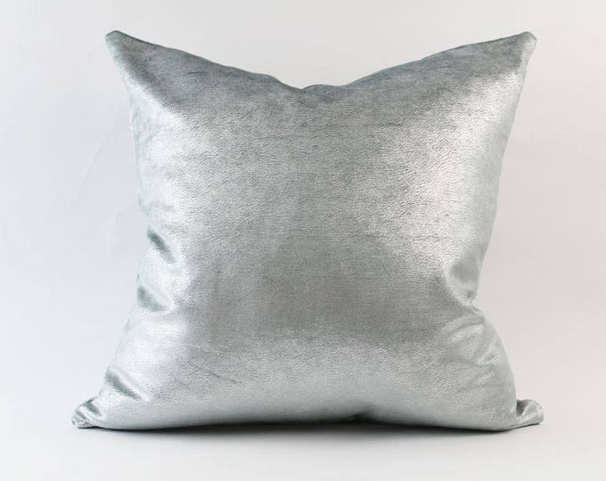 iridescent aqua blue and silver velvet metallic pillow cover - COVER ONLY