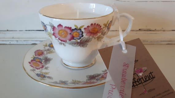 Tea cup candle. Scented soy wax vegan vintage tea cup candle, with strawberry and prosecco.  Vegan candles. Organic soy. Made in Wales
