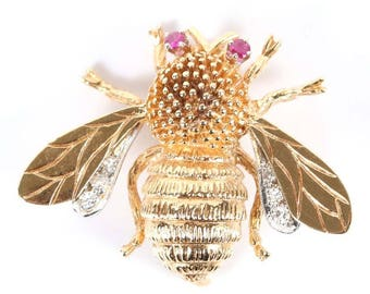 14k GOLD BEE PIN - Neoclassical Brooch with Rubies and Diamonds