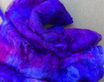 Hand Dyed Mulberry Silk Laps, Textured Silk, Combed Silk Laps, Feltmaking, Spinning, Colour No.05 Violet
