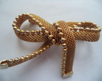 Vintage Unsigned Goldtone/Mesh Bow  Brooch/Pin