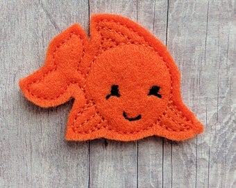 Fish Accessory, Embroidered Orange Acrylic Felt with Choice of Headband, Pin, Magnet, Hair Clip, Ponytail, Shoe Clip, Bookmark