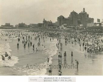 Atlantic City New Jersey beach view boardwalk antique art photo