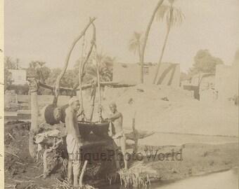 Egypt men by well antique ethnic albumen photo Africa