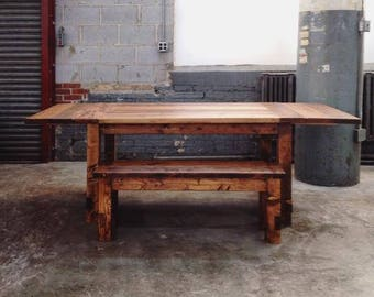 The Gather   Rustic Farm Style Table And Farm Bench