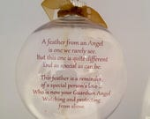 "A Feather from an Angel 3.25"" Disk Shaped, shatterproof Ornament, Christmas, Memory, Memorial"
