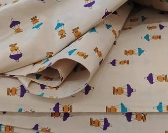 "1960's Vintage Lantern Novelty Print Silk Fabric  5 yards 1"" by 44"" wide Floating Lanterns Perfect for a Full Skirted Party Dress"