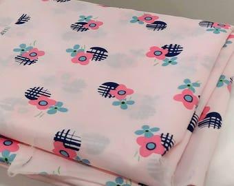 "1970's Vintage Flower Geometric Print Pink Fabric- 1972 Klopman Mills   3 yards 24"" by 44"" wide Navy, Dark Pink, Sky Blue and Green on Pink"