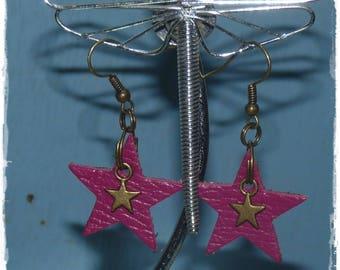 Purple stars leather earrings