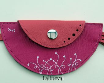 Leather bird wallet pink Fuchsia and coral