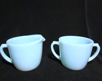 Fire King Cream and Sugar Bowl , Blue Turquoise, Cream Pitcher, Sugar Bowl, Excellent Condition,  Mid Century Dinnerware
