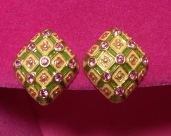 Joan Rivers Clip On Earrings - Criss Cross Design in Pink and Greeen - S2338
