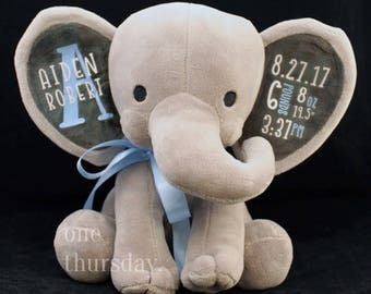 Personalized Elephant Birth Announcement, Personalized Baby Gift, Birth Stats, Stuffed Elephant, Custom Newborn Plushie Gift
