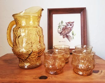 Vintage Floral Pitcher with Glasses