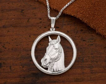 """Sterling Silver Horse Pendant, Silver Horse Jewelry, Equestrian Jewelry, Wild Life Jewelry, 1"""" in Diameter, ( # 694S )"""