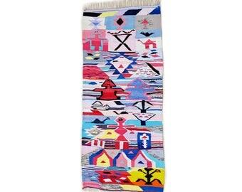 "90""X39"" Handwoven moroccan kilim rug, boucherouite rug, handmade rug, geometric pattern, colorful rug, chic ethnic, moroccan decor"