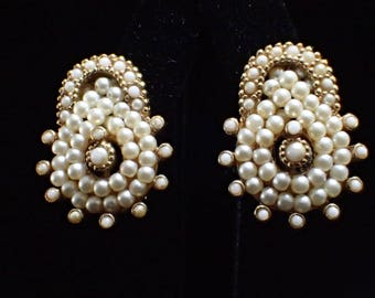 Designed Signed CINER Faux Pearl Gold Tone Clip Earrings
