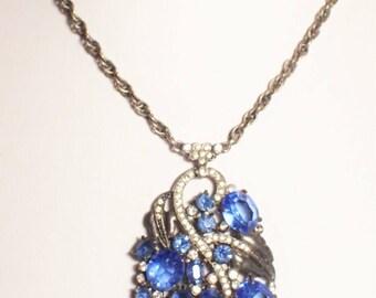 Art Deco Pot Metal and Sapphire Blue Prong Set Rhinestone Pendant Necklace