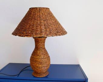 desk lamp,wicker table lamp, Wicker Vintage lamp, wicker table lamp, table, wicker lamp, Ratan table Shabby Chic