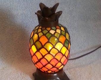 Stained Glass Accent Lamp - Pineapple Lamp - Nightlight