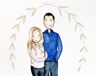 Custom / Personalized Portrait. Adorable Watercolor, Birthday, Anniversary, wedding, graduation or friend ( 2 Person portrait & 1 Extra )