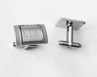 Set of 10 Groomsmen Gifts- Personalized Custom Engraved Cufflinks Custom Engraved Cufflink Groomsman Gift -Men gifts-C100