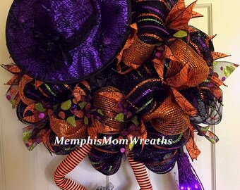 Halloween Witch Wreath - Deco Mesh Wreath - Witch Wreath - Witch Legs - Witch Hat - Halloween Deco Mesh Wreath - Halloween Wreath