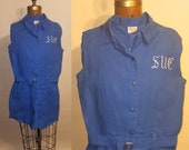 1950's Gym Class 50's Linen Romper Shorts Belted Monogrammed Womens Gym Outfit - S
