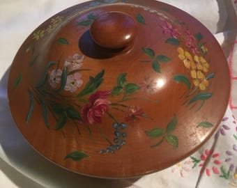 Handpainted wooden lidded bowl