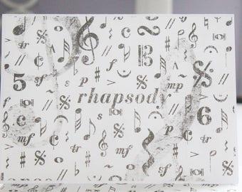 Music Rhapsody Card Set - Music Teacher Card Set - Thank You Cards - Greeting Cards - Blank Card Set of 6
