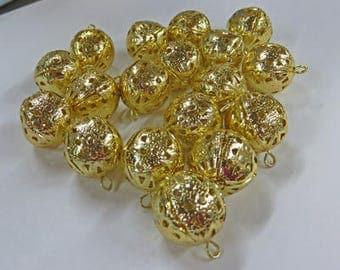 Filigree Beads - Vintage Gold Dangling Filigree Beads - 3 Packages of Vintage 18mm Beads