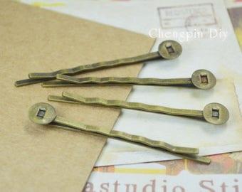 Flat Hair Bobby Pins - Glue Bobby Pins - Bobby Pin Hair Accessory - Hair Pin Blanks - Hair Pin Trays 8mm
