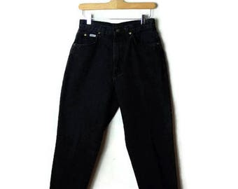 Vintage Chic Black  High Waist tapered Denim Pants/ Jeans /W25*
