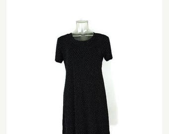 ON SALE Vintage Black x White Polka dots  Mini Slouchy Flare  Dress  from 1980's*