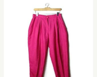 ON SALE Vintage Vivid Pink High waist tapered easy Pants from 1980's/W27*