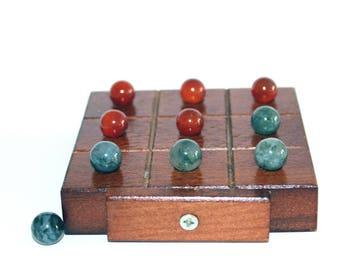 "Vintage Wood Tic Tac Toe Game with Agate Markers. Travel Game Set. 3.75"" Small/ Travel Tic Tac Toe Set. Noughts & Crosses Set. Game Set."