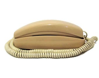 Vintage AT&T Trimline Wall Phone/ Vintage Push Button Phone/ Beige Colored Wall Phone/ Retro Wall Phone/ Vintage Home Decor/ Collectible