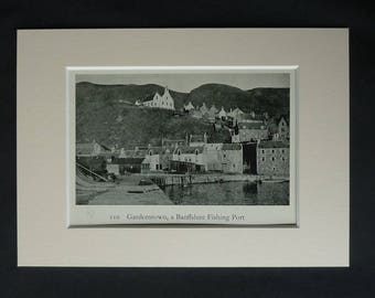 1930s Antique Matted Scottish Picture of Gardenstown Fishing Port Near Banff