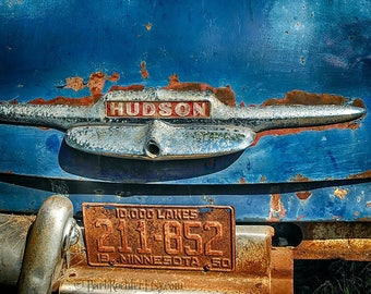 Rusty Hudson - Vintage Car - Rustic Wall Art - 8x10 Prints - Retro Print - 1950 Hudson - Rust - Blue - Garage Art