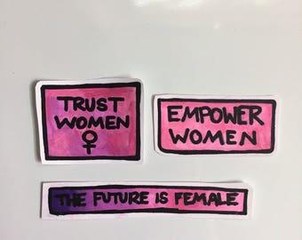 trust women feminist girl power political activist sticker set