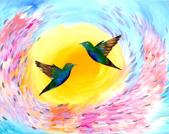 """large wall art,large canvas painting,large paintings, big painting, of birds, 2 birds, on canvas, original, abstract, bright, happy,36""""x24"""""""