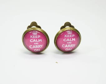 Earclips Keep Caln and carry on pink