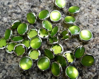 Lime Green Pearl Snaps, Pearl Snap Fasteners, 11 mm Pearl Snaps