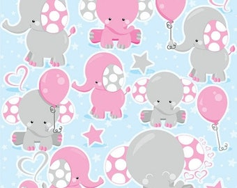 80% OFF SALE Elephant Clipart, girl elephant clip art commercial use, pink elephant vector graphics, animal digital images - CL975