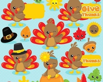 80% OFF SALE Thanksgiving clipart commercial use, turkey clipart, kawaii clipart, Fall vector graphics, Thanksgiving digital image - CL1035