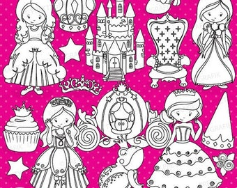 80% OFF SALE Princess digital stamp commercial use, vector graphics, digital stamp, digital images - DS748