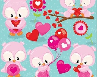 80% OFF SALE Valentine owls clipart commercial use, vector graphics, digital clip art, digital images  - CL935