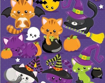 80% OFF SALE Halloween clipart commercial use, cat clipart vector graphics, cat digital clip art, halloween cat - CL1105