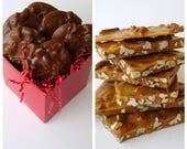 Pecan Brittle - 1/2 lb & 1/2 dozen milk chocolate pralines